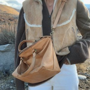 American Leather Co desert distressed slouchy bag